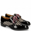 Derby Schuhe Betty 3 Patent Black Hairon Tweed Black White