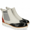 Stiefeletten Selina 29 Black Fiesta Nappa Perfo White Elastic Oxford
