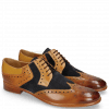 Derby Schuhe Clint 19 Tan Nubuck Perfo Deep Navy