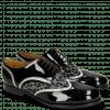 Derby Schuhe Sally 15 Patent Black Nappa Aztek Silver Leo