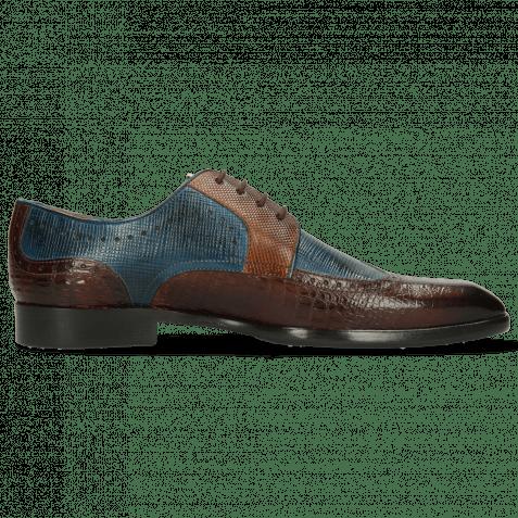 Derby Schuhe Elyas 2 Baby Croco Mid Brown Haina Blue