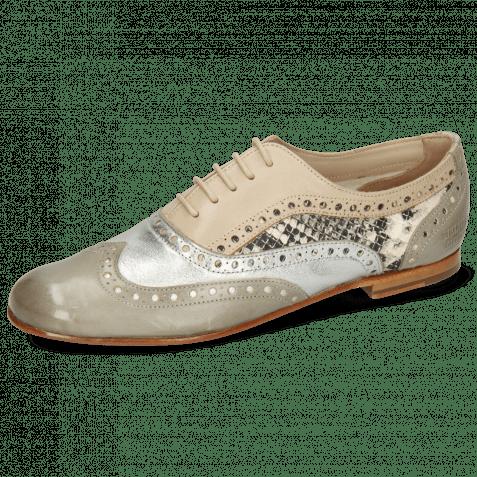 Oxford Schuhe Sonia 1 Vegas Light Grey Talca Steel Glove Nappa Ivory Snake