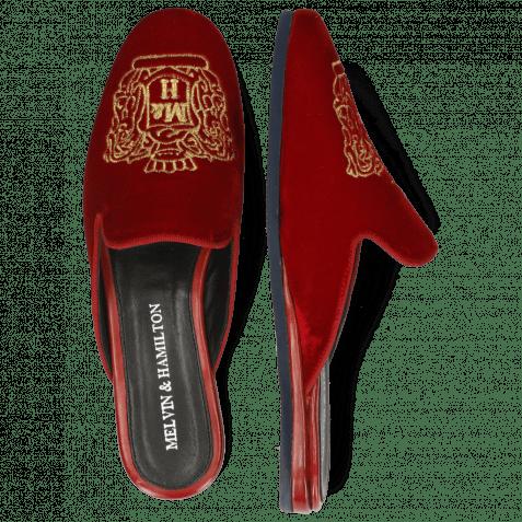 Pantoletten Scarlett 39 Velluto Ruby Embroidery Crown