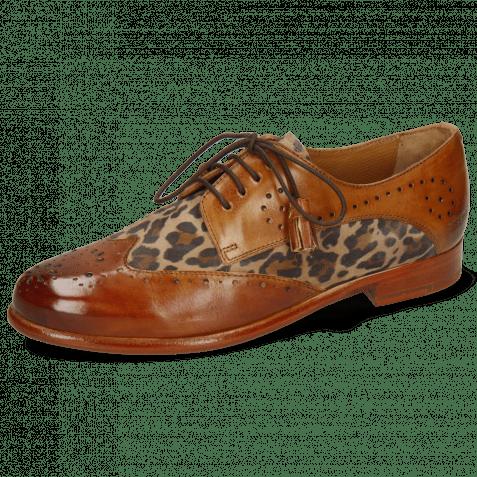 Derby Schuhe Selina 41 Tan Sand Suede Leo Beige