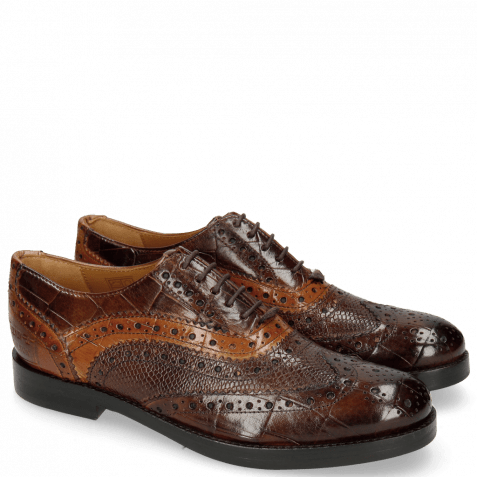 Oxford Schuhe Amelie 10 Turtle Mid Brown Phyton