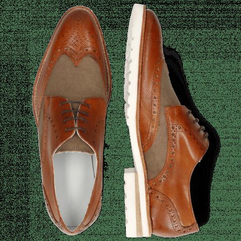 Derby Schuhe Kane 5 Venice Dice Tan Canvas Beige