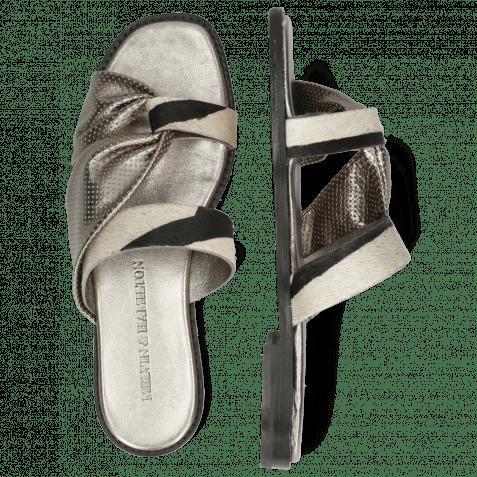 Pantoletten Elodie 41 Hairon Zebra Wide Black White Metallic Nappa Gunmetal