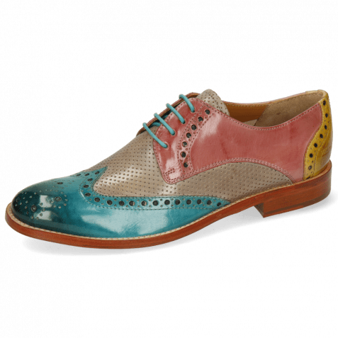 Derby Schuhe Amelie 3 Abyss Perfo Oxygen Rose Margarine