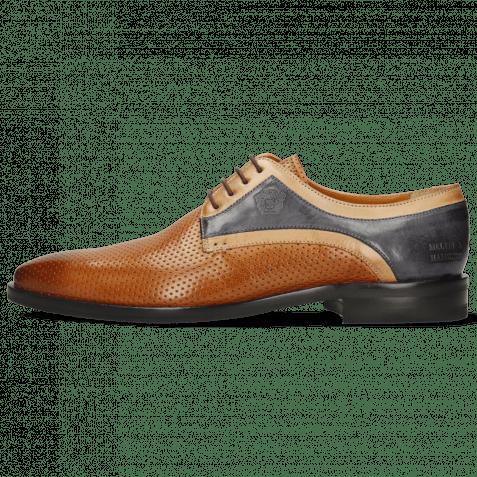 Derby Schuhe Alex 10 Berlin Perfo Cognac Sand Navy