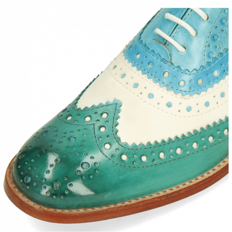 Oxford Schuhe Amelie 10 Vegas White Turquoise Abyss Mermaid