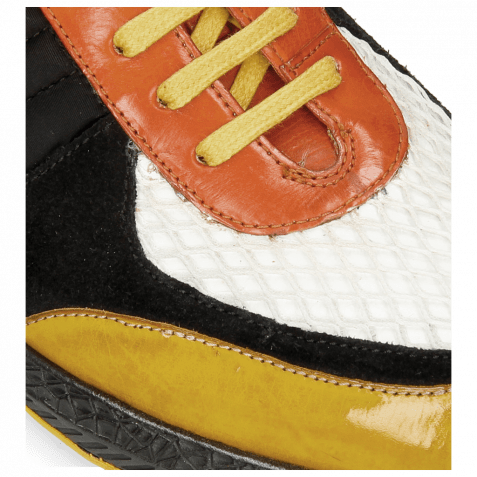 Sneakers Blair 13 Yellow Suede Pattini Black Underlay Milled White Orange Lycra