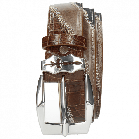 Gürtel Larry 2 Stone Suede Pattini Navy Crock Wood Sword Buckle