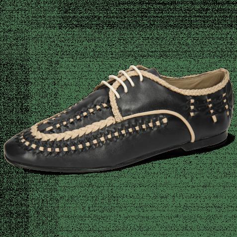 Derby Schuhe Aviana 2 Navy Nappa Interlaced Off White