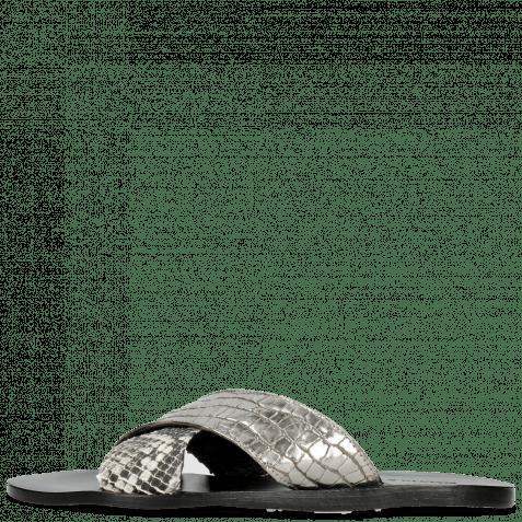 Pantoletten Hanna 50 Grazli Gunmetal Snake Off White