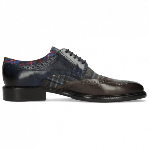 Derby Schuhe Henry 23 Deep Steel Navy Textile Check Turbo Mars
