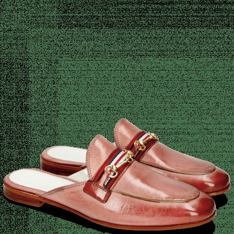 Pantoletten Scarlett 46 Glove Nappa Pink Salt Trim Gold