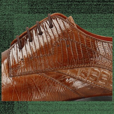 Derby Schuhe Toni 39 Crock Wood Dice Tortora Guanna Tan Ostrich Baby Croco Lizzard