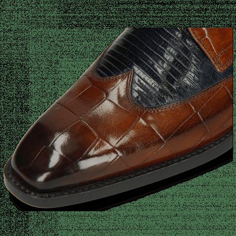 Derby Schuhe Martin 7 Turtle Wood Lizzard Navy