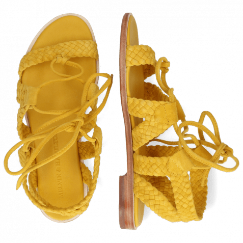 Sandalen Sandra 11 Suede Chilena Woven Yellow Footbed