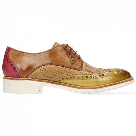 Derby Schuhe Amelie 3 Cedro Tan Fuxia Perfo New Sand