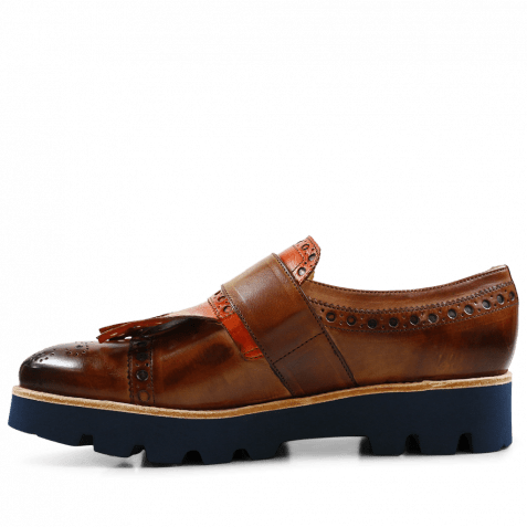Monk Schuhe Amelie 52 Wood Kilty Winter Orange Buckle Gunmetal 543 Blue