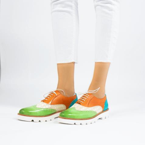 Oxford Schuhe Selina 24 Vegas Lawn Perfo White Tibet Turquoise