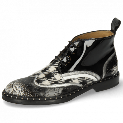 Stiefeletten Sally 30 Brush Floral Black White Nappa Aztek Smoke Textile Tweed