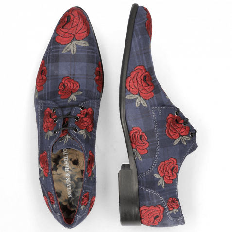 Derby Schuhe Toni 1 Suede Check Navy Embroidery Roses