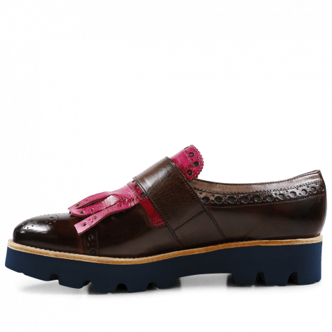 Monk Schuhe Amelie 52 Dark Brown Kilty Dark Pink Buckle Gunmetal 543 Blue