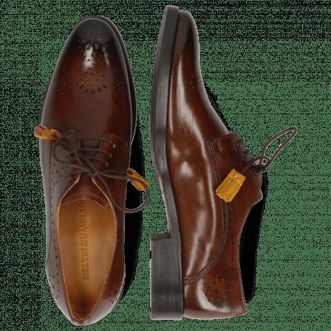 Derby Schuhe Betty 2 Mid Brown Tassel Indy Yellow