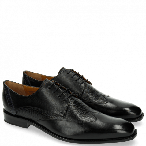 Derby Schuhe Xabi 1 Berlin Haina Black Strap Navy