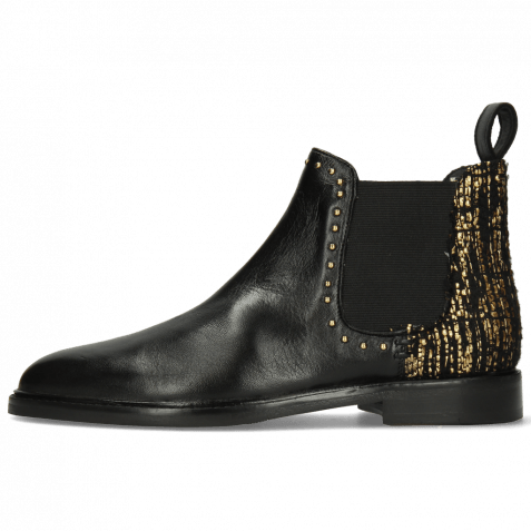 Stiefeletten Susan 37 Nappa Black Textile Tweed Gold Rivets