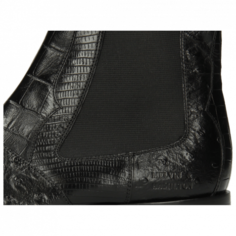 Stiefeletten Elvis 12 Big Croco Lizzard Crock Ostrich Black