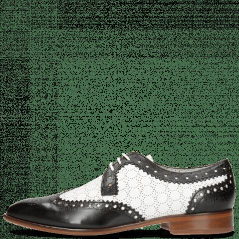 Derby Schuhe Jessy 53 Black Nappa Perfo White Lining Nappa Flex
