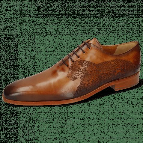 Oxford Schuhe Lewis 37 Tan Shade Dark Brown Lasercut Leopard