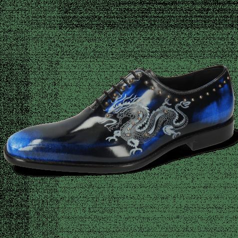 Oxford Schuhe Clark 6 Brush Off White Navy Lasercut Dragon Rivets