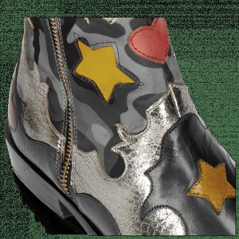 Stiefeletten Marlin 12 Navy Cromia Gunmetal Camo Satin Blue Stars Yellow Heart Ruby