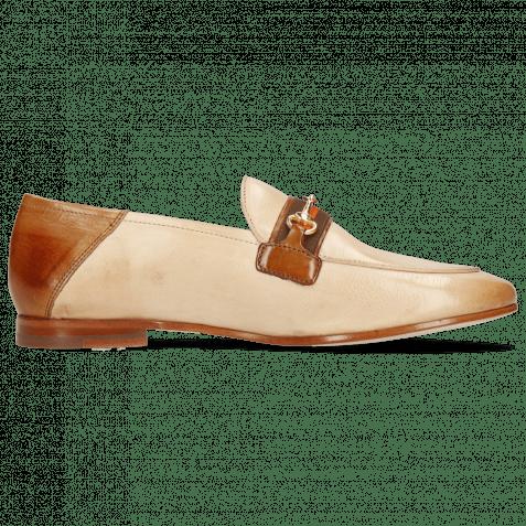 Loafers Scarlett 45 Glove Nappa Ivory Tan Trim Gold