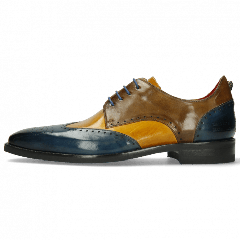 Derby Schuhe Dave 2 Ice Indy Yellow Khaki Electric Blue