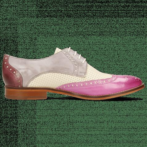 Derby Schuhe Amelie 3 Lilac Vegas Perfo White
