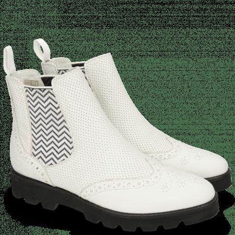 Stiefeletten Selina 6 Nappa Perfo White Elastic Zigzag