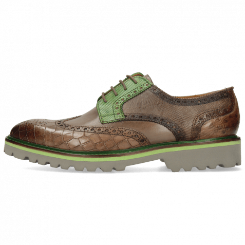 Derby Schuhe Matthew 33 Crock Stone Dice Electric Green Lizzard Ostrich