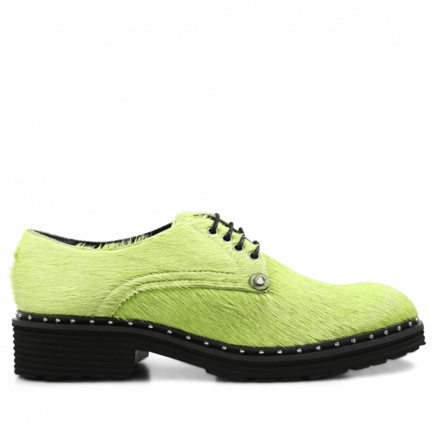 Derby Schuhe Sissy 1 Hair On Green Rivets Rook D Black