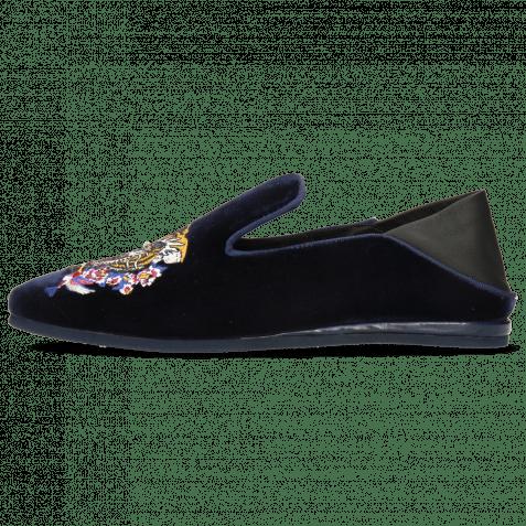 Loafers Scarlett 37 Velluto Midnight Nappa Black Embroidery Tiger