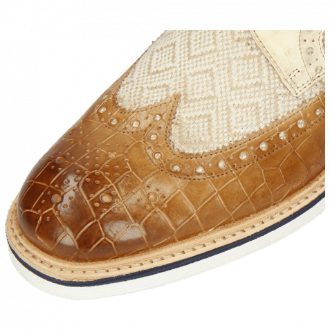 Derby Schuhe Trevor 10 Vegas Crock Sand Linen Jute Mesh Dice Vegas Nude