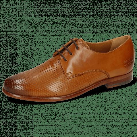 Derby Schuhe Selina 23 Pavia Perfo Tan