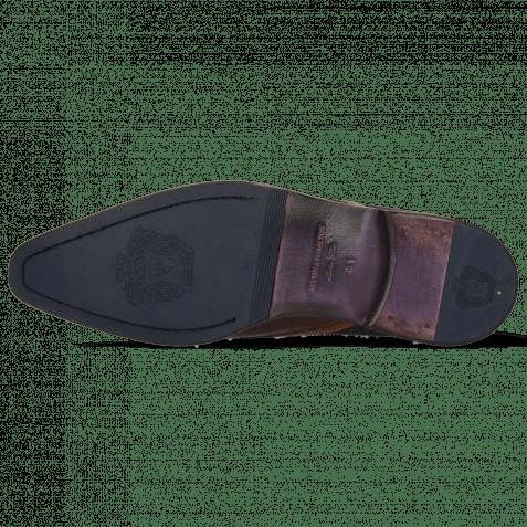 Derby Schuhe Lance 11 Crock Mid Brown Wood Suede Pattini Navy