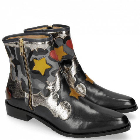 Stiefeletten Marlin 12 Navy Cromia Gunmetal Camo Satin Blue Stars Yellow Heart Ruby