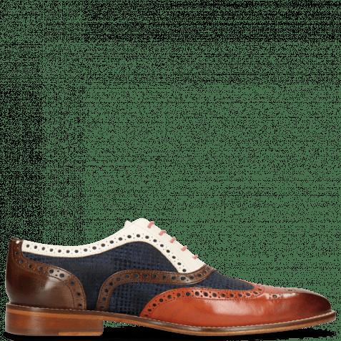 Oxford Schuhe Leonardo 21 Sweet Heart Textile Rubics Navy Dark Brown Vegas White
