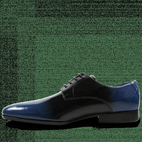 Derby Schuhe Paul 5 Patent Black Blue HRS Black
